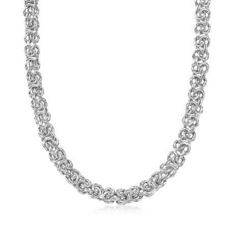 Thick Cut Stainless Steel Byzantine Necklace in 14K White Gold