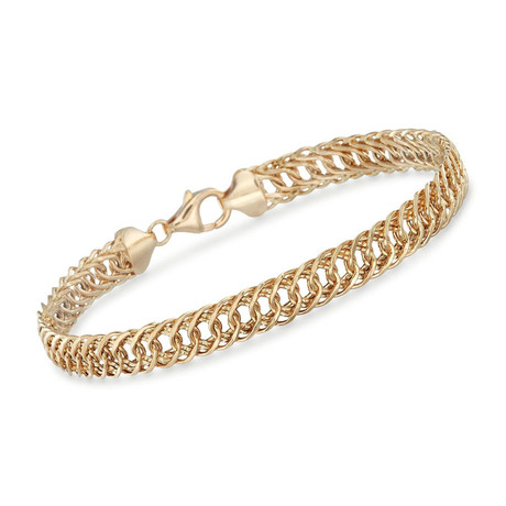 Classic Double Stainless Steel Curb Chain Bracelet // Silver