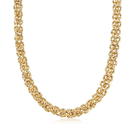 Thick Cut Stainless Steel Byzantine Necklace in 14K Gold