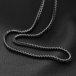 Modern Venetian Box Chain Necklace // Black Gunmetal Plated