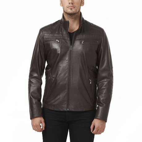 Caspian Leather Jacket // Brown (XS)
