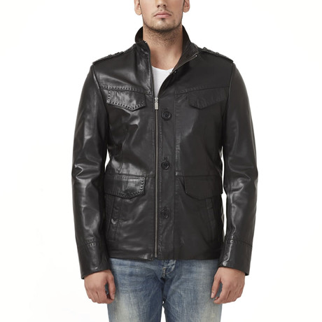 Crater Leather Jacket // Black (XS)