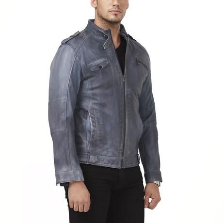Ohrid Leather Jacket // Blue (XS)