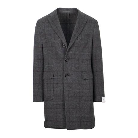 Caruso // Plaid Cashmere Loro Piana Fabric Top Coat // Gray (Euro: 48)