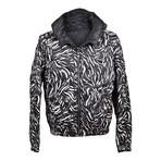 Printed Puffer Jacket // Black + White (Euro: 46)