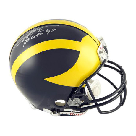 Charles Woodson // Michigan Wolverines Riddell Full-Size Helmet with ''Heisman 97'' Inscription