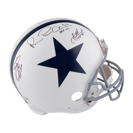 "Troy Aikman, Michael Irvin, + Emmitt Smith // Dallas Cowboys Pro-Line Helmet + ""HOF"" Inscriptions"