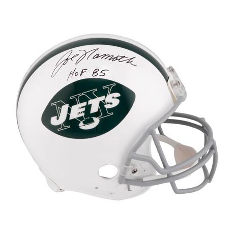 "Joe Namath // New York Jets Riddell Throwback Pro Line Helmet with ""HOF 85"" Inscription"