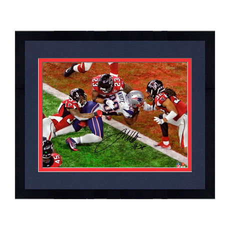 "James White // New England Patriots 8"" x 10"" SB Touchdown Photograph (Framed)"