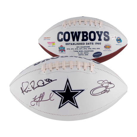 Troy Aikman, Michael Irvin, + Emmitt Smith // Dallas Cowboys Multi-Signed White Panel Football