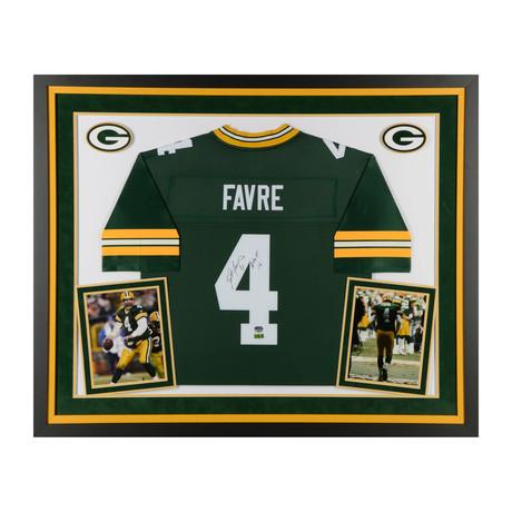 """Brett Favre // Green Bay Packers Deluxe Green Pro-line Jersey with """"HOF 16"""" Inscription"""