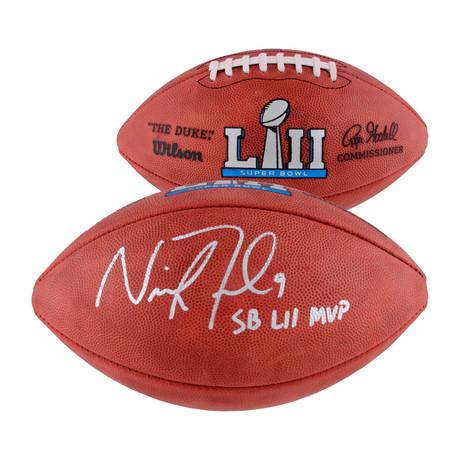 "Nick Foles // Philadelphia Eagles SB LII Champions Football + ""SB LII MVP"" Inscription"
