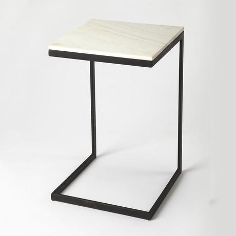 Grant Black Metal & Marble End Table