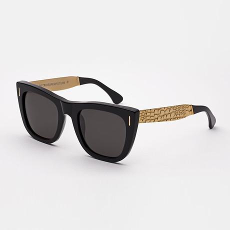 Gals Francis Goffrato Sunglasses // Black + Gold