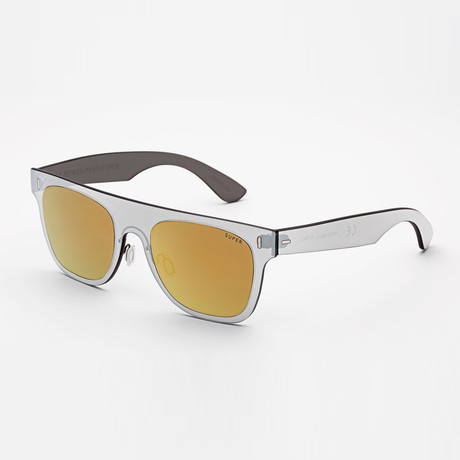 Duo Lens Flat Top Sunglasses // Gold + Silver