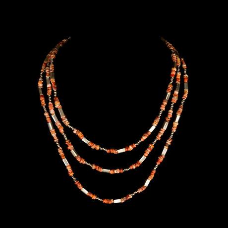 Sacred Spondylus Shell & Silver Necklace // Peru Ca. 1,000 CE