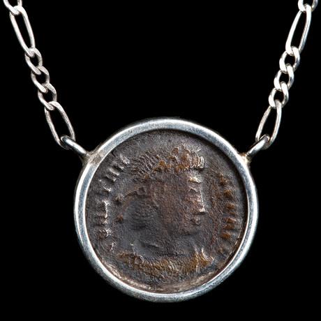 Authentic Roman Emperor Constantine The Great // Bronze Coin Silver Necklace // Roman Empire Ca. 306-337 CE // 1