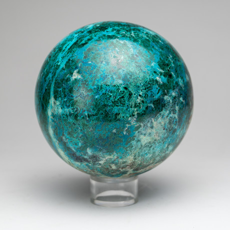 Large Polished Natural Chrysocolla Sphere // Acrylic Display
