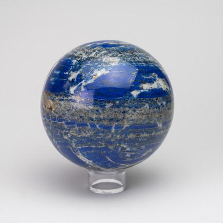 Large Natural Polished Lapis Lazuli Sphere // Acrylic Display