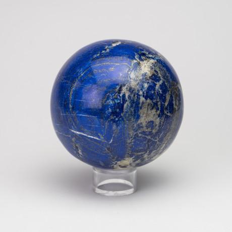 Large Polished Natural Lapis Lazuli Sphere // Acrylic Display // I