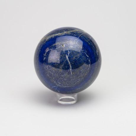 Large Polished Natural Lapis Lazuli Sphere // Acrylic Display // II