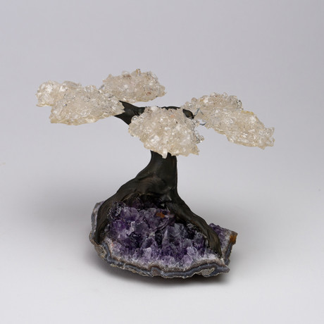 The Energy Tree // White Quartz Gemstone Tree on Amethyst Matrix // Small