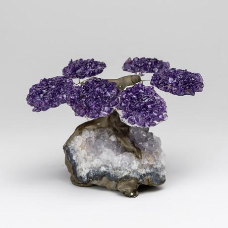 The Relaxation Tree // Amethyst Gemstone Tree on Quartz Matrix // Small