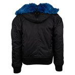 Off White // Fur Collar Bomber Coat // Black (XL)