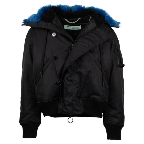 Off White // Fur Collar Bomber Coat // Black (XS)