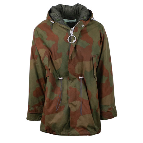 Off White // Fishtail Camo Hooded Parka // Green (XS)