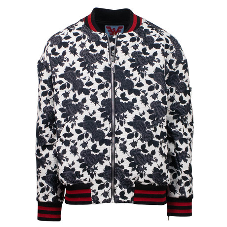 Adaptation // Rose Bomber Jacket // Black + White (XS)