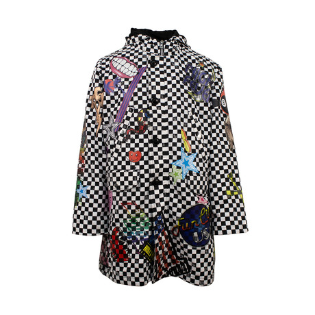 Amiri // Checkered Sticker Design Parka Coat // Black + White (XS)