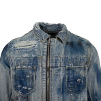 Amiri // Destroyed Collar Trucker Jacket // Blue (XS)