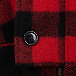 Greg Lauren // Buffalo Check Snorkel Flight Jacket // Red (L)