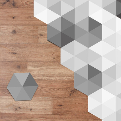 Grey Shaded Triangles Hexagon
