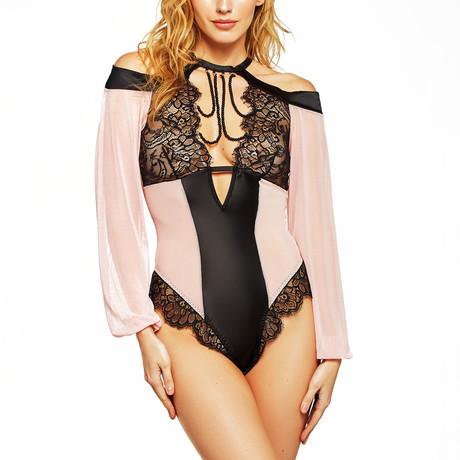 Long Sleeve Off Shoulder Teddy // Pink + Black (S)