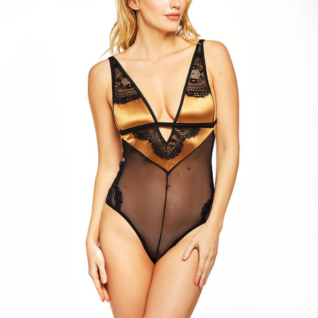 Satin + Mesh Teddy // Gold + Black (S)