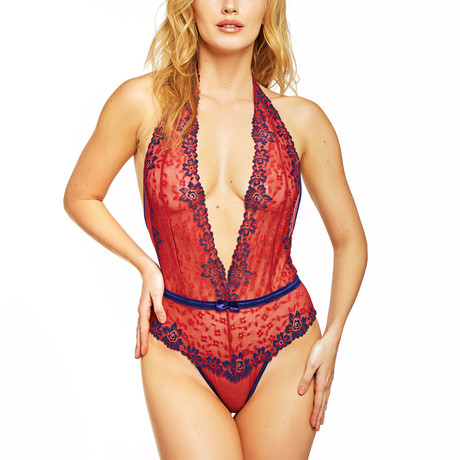 Contrast Lace Halter V-Neck Teddy // Red (S)