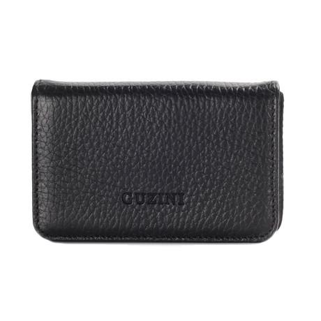 Magnetic Leather Business Card Holder // Black