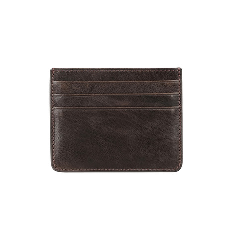 6-Card Holder With Pocket For Paper Money // Brown