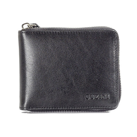 Zippered Wallet With Pocket For Coins // Black