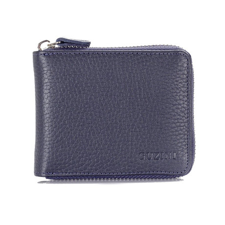Zippered Wallet With Pocket For Coins // Navy Blue