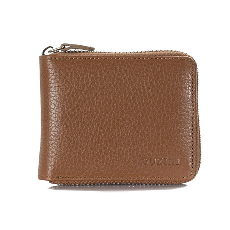 Zippered Wallet With Pocket For Coins // Tobacco