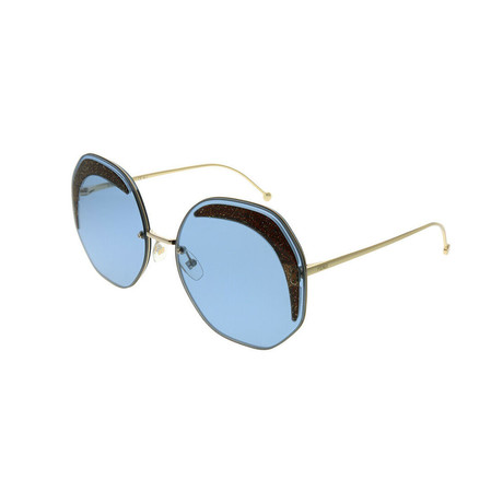 Fendi // Women's Geometric Sunglasses // Gold