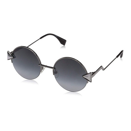 Women's 0243S Round Sunglasses // Silver + Black