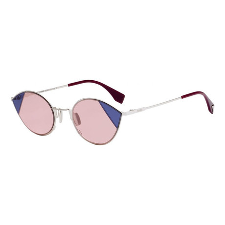 Women's Fashion Sunglasses // 51mm // Silver + Pink Frame