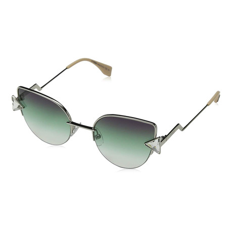 Women's Fashion Sunglasses // 53mm // Silver + Green Frame