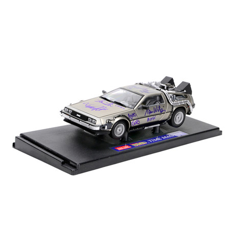 Back to the Future Cast Autographed 1:18 Scale Die-Cast DeLorean