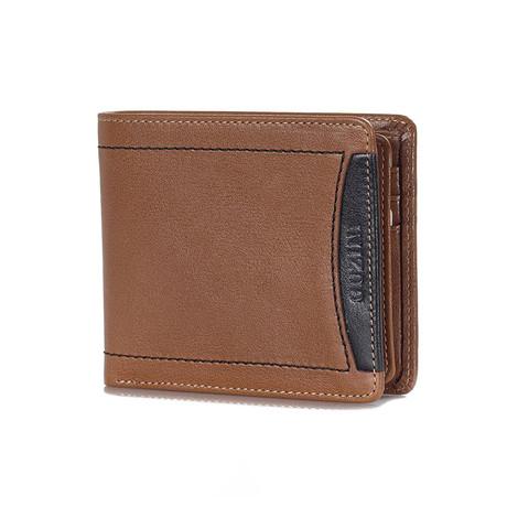 Contrast Stitch Wallet // Tobacco