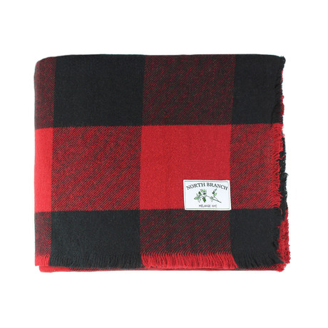 Buffalo Plaid Wool Blanket // Red + Black (Full + Queen)